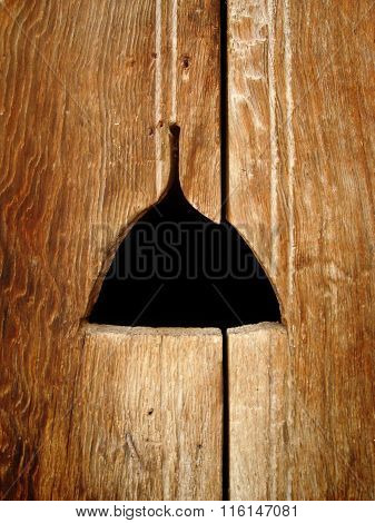 Old Wooden. Wood Textured Background. Mouse Hole
