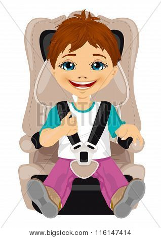 little boy strapped to a car seat