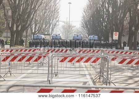 Riot Police During A Demonstration In Milan, Italy