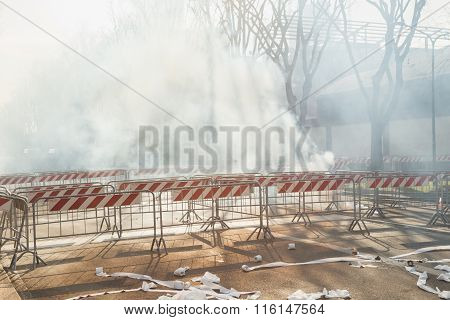 Barriers And Smoke During A Demonstration In Milan, Italy