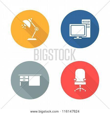 Workplace flat design icon set