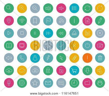 Digital linear icons set. Color