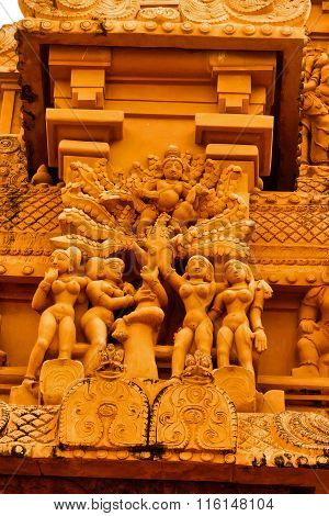 Lord Krishna playing with unmarried Gopi girls depicted in Brihadeeswarar Temple walls at Thanjavur