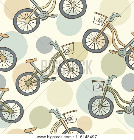 Seamless Pattern With Bikes And Circles