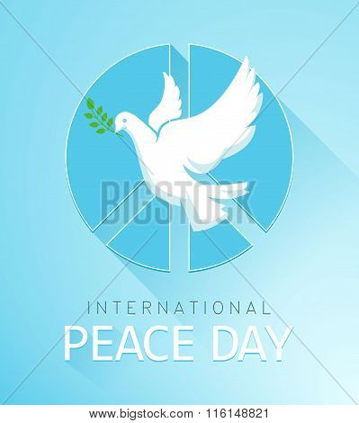 Dove of Peace with olive branch and a peace sign. The poster for the Peace Day. Vector illustration
