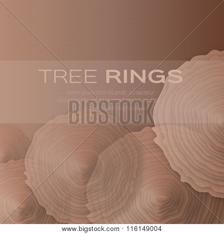 Tree rings with saw cut tree trunk - cut from paper concept background.
