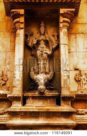 THANJAVUR January 25th, 2016 - Statue of Goddess Mahishasuramardini at Brihadeeswarar Temple