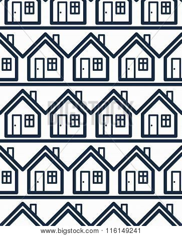 Simple Houses Continuous Vector  Background. Property Developer Conceptual Elements, Real Estate