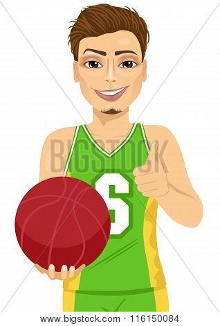 male basketball player holding ball