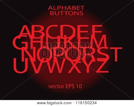 Alphabets red neon letters