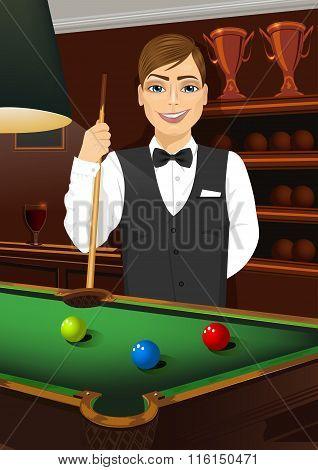 handsome caucasian man holding cue stick