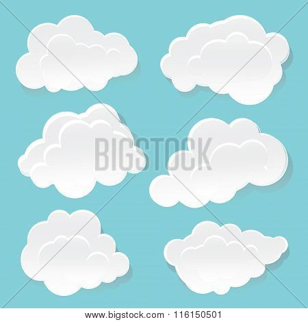 White clouds on a blue background.