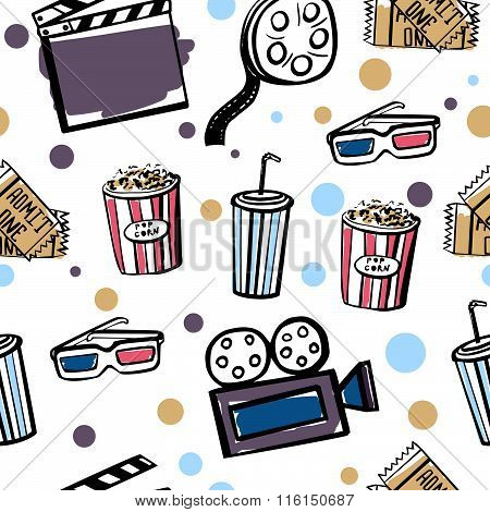 Seamless Pattern With Cinema Doodle Objects