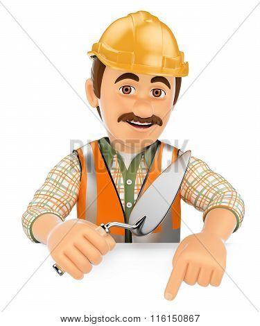 3D Construction Worker With A Trowel Pointing Down. Blank Space