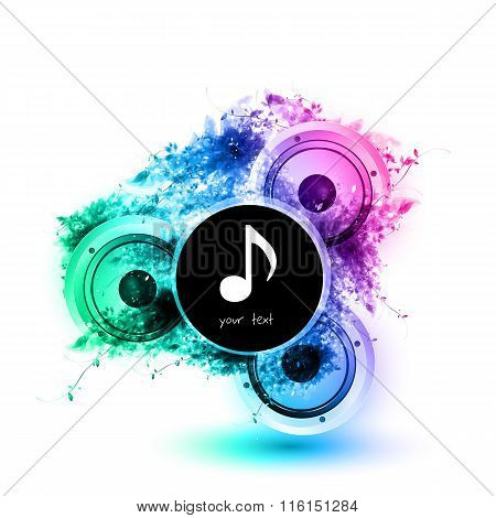 Musical Speakers Background, Easy All Editable