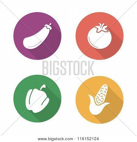Vegetables flat design icons set