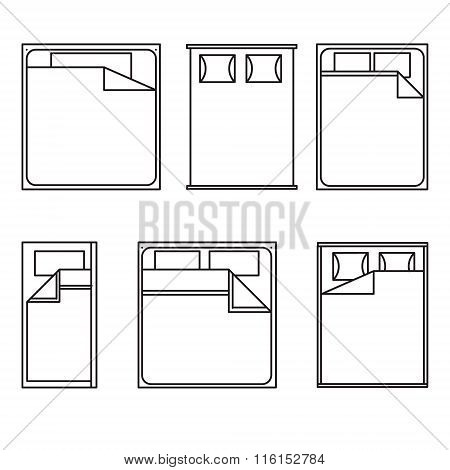 Outline Beds on white background.