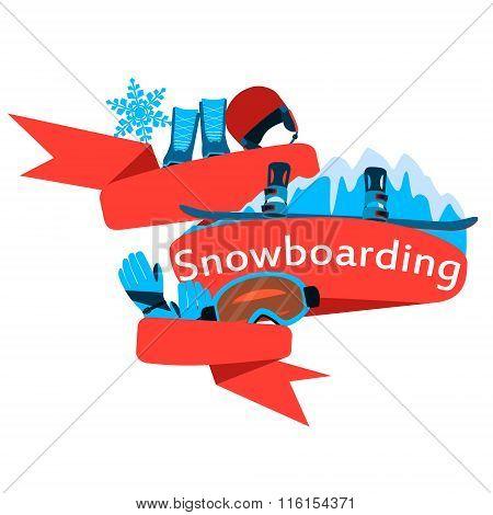 Red Ribbon equipment for snowboarding. Vector illustration