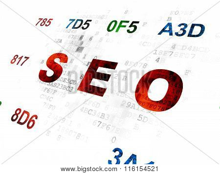 Web development concept: SEO on Digital background