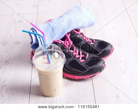 Smoothie Drink With Sport Equiment