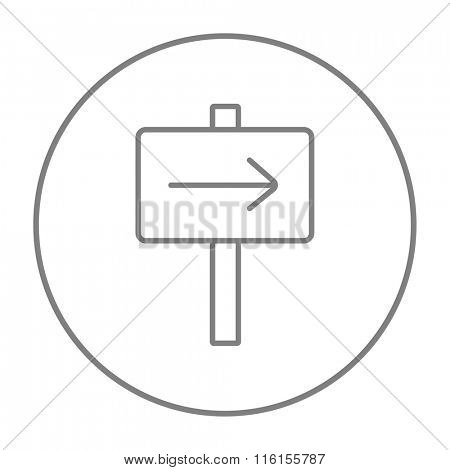 Travel traffic sign line icon.