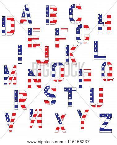 Grunge American Flag Alphabet
