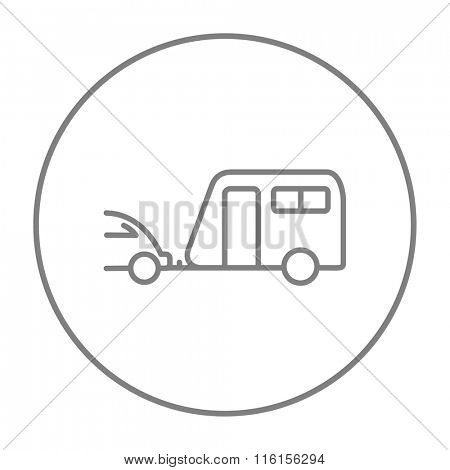 Car with caravan line icon.