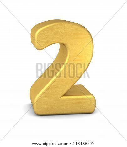 3D Number 2 Gold