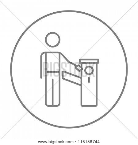Man at car barrier line icon.