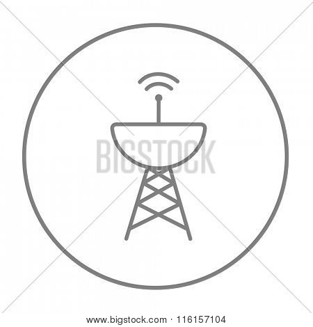 Radar satellite dish line icon.