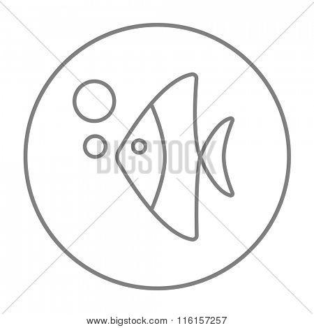 Fish under water line icon.