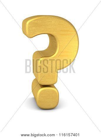 3d Symbol Question Mark Gold Vertikal