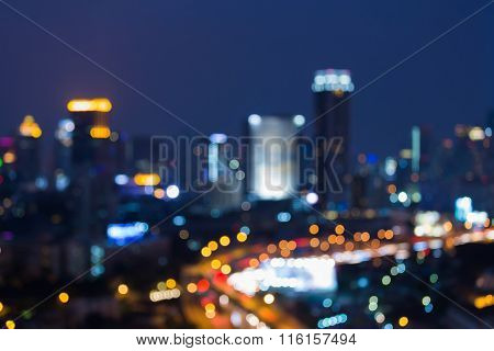 Abstract city blurred bokeh light background night view