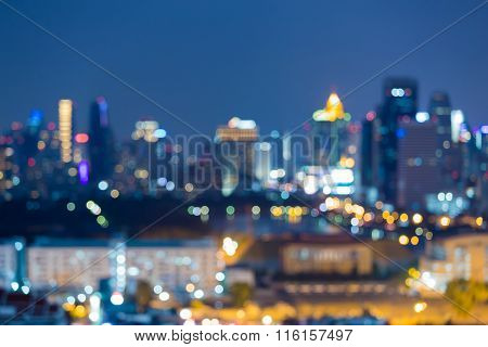 Abstract blurred bokeh city downtown lights nigh view