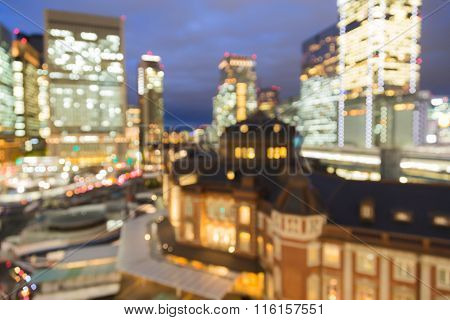 Abstract blurred bokeh background Tokyo central rail way station night view
