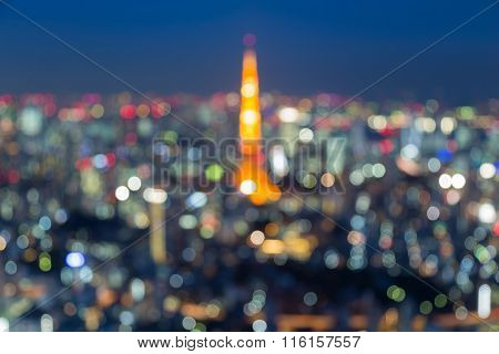 Blurred bokeh lights background Tokyo downtown