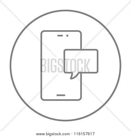 Touch screen phone with message line icon.