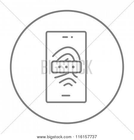 Mobile phone scanning fingerprint line icon.