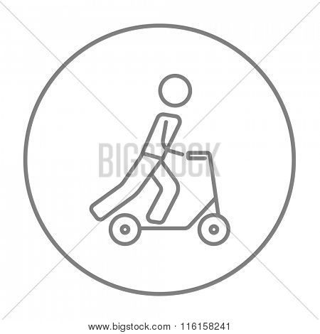 Man riding kick scooter line icon.