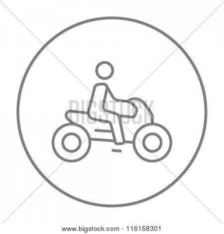 Man riding motorcycle line icon.