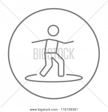 Male surfer riding on surfboard line icon.
