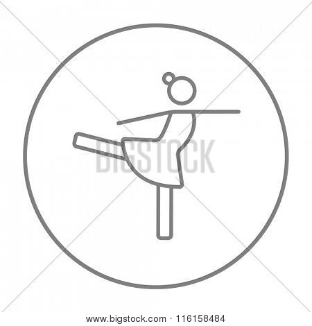 Female figure skater line icon.