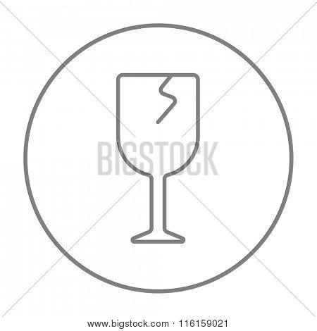 Cracked glass line icon.