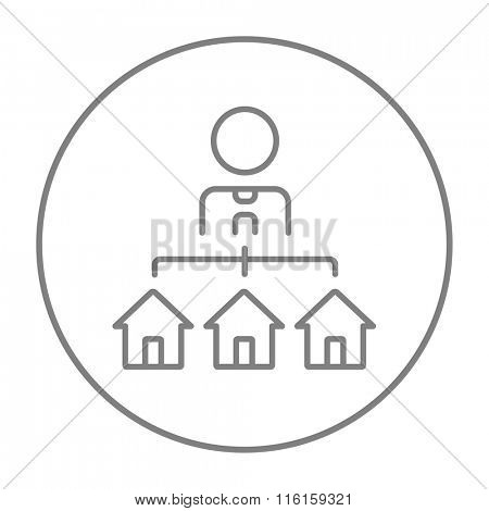 Real estate agent with three houses line icon.