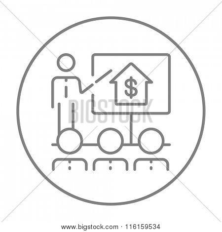 Real estate training line icon.