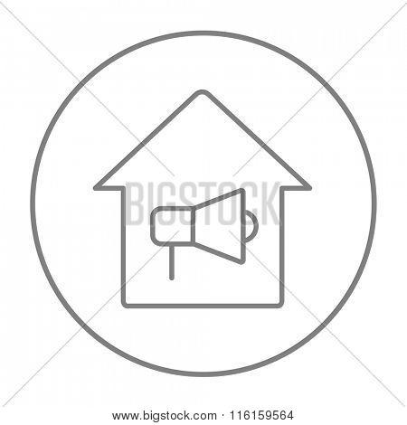 House fire alarm line icon.