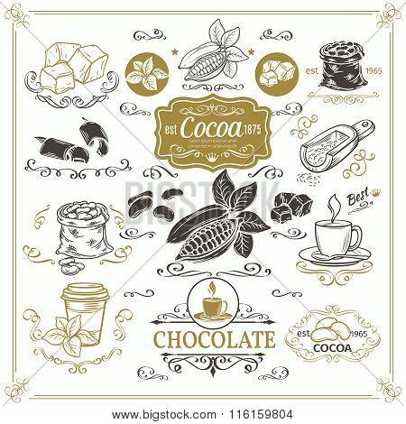 Decorative cocoa schocolate design set.