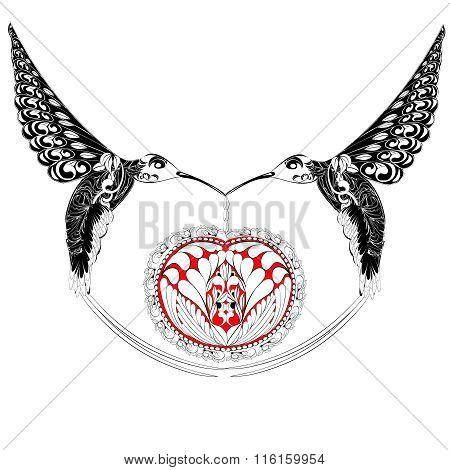 fantasy Hummingbird with a heart