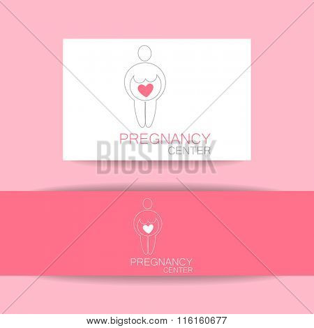 Pregnancy center logo. Sign of of love and caring. Template design for the logo of the company. Pregnant,  pregnant woman,  pregnancy test,  maternity.