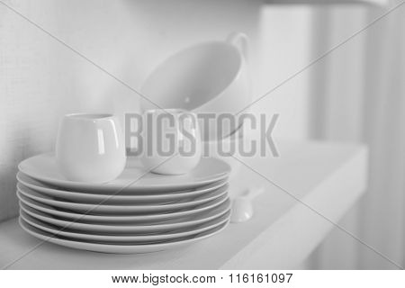 Tableware on a white background, close up